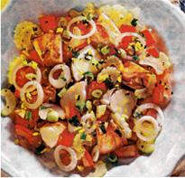Праздничный салат с лангустами