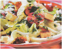 Низковалорийный салат с гренками