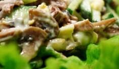 Рецепт салата из языка с шампиньонами