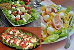 Подборка салатов с моцареллой