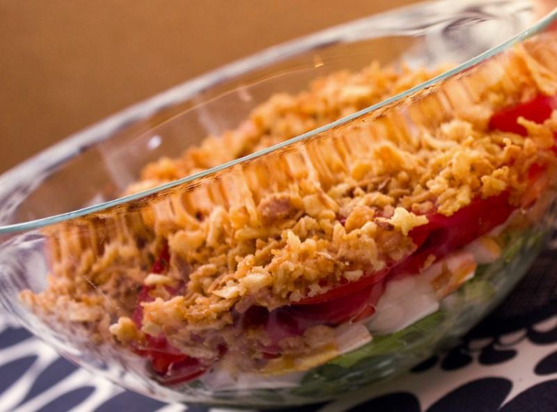 Салат с жаренным луком фото