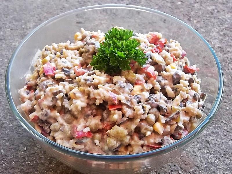 фото рецепт салата с жаренными грибами