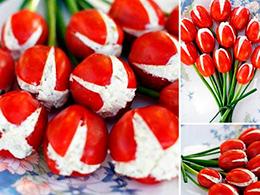 Салат в виде тюльпана