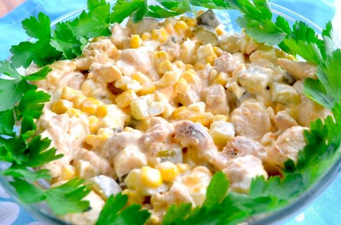 фото салата с курицей и грибами