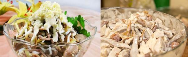фото салата с языком и грибами
