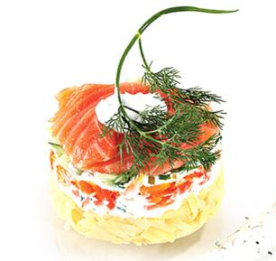 Картофельный салат с копченым лососем и каперсами