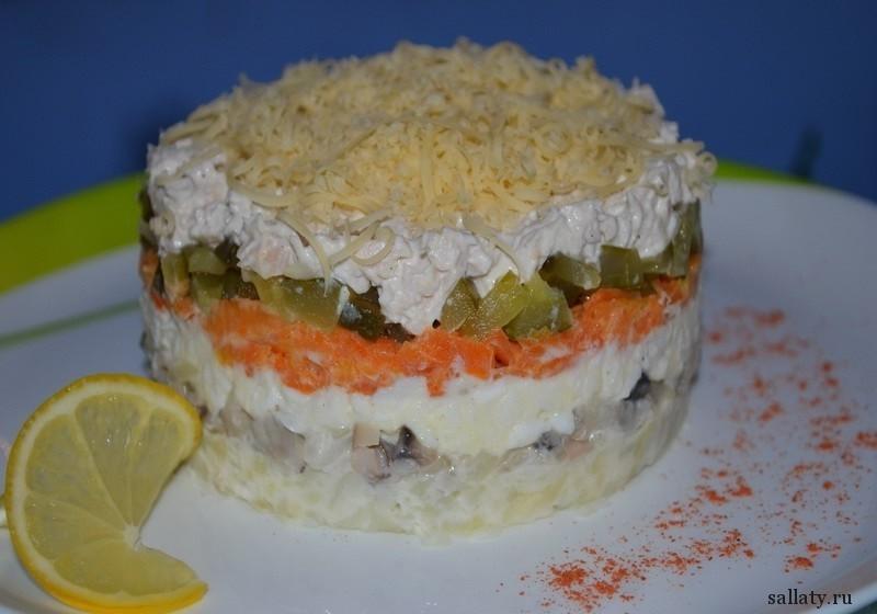 салат с грибной шубой